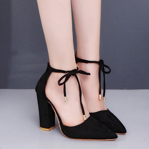 Fashion Pointed Head Plain Coarse Heel Sandal