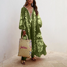 Load image into Gallery viewer, Bohemian Inwrought Colour Loose V Neck Maxi Dresses
