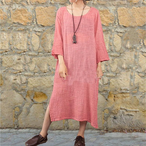 Daily Round Collar Loose Plain Vacation Dress
