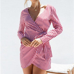 Check Printed Wrap Tie Mini Vacation Dress