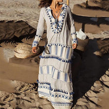 Load image into Gallery viewer, Bohemian V Neck Striped Tassel Long Sleeve Maxi Dresses