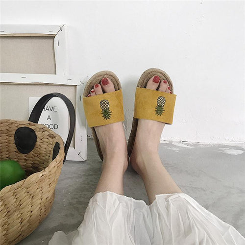 Retro Casual Printed Straw Weaving Slipper