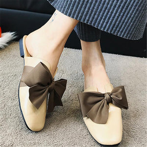 Fashion Square Head Bowknot Flat Bottom Slippers