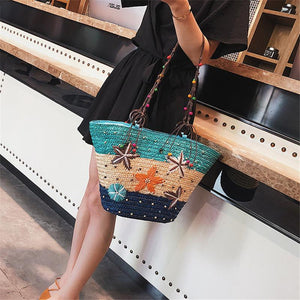 Fashion Blue Patchwork Marine Style Straw Handbag