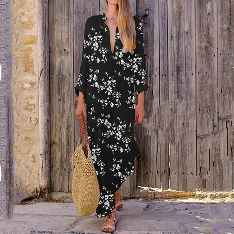 Casual Printed Colour V Neck Maxi Dresses