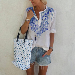 Casual V Neck Printed Colour Shirt