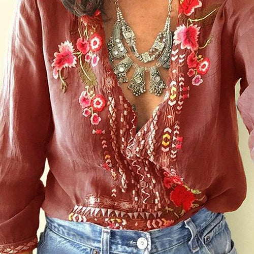 Casual V Neck Floral Long Sleeve Color-Block Inwrought Blouses
