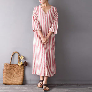 Fashion Casual Striped V-Neck Split Cotton And Linen Dress