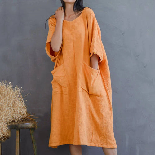 Summer Loose Cotton And Linen Pocket Casual Dress