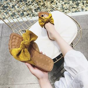 Summer Casual Sweet Bowknot Flat Bottom Slippers