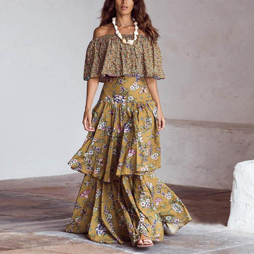 One-Shoulder Ruffled Stitching   Floral Bohemian Dress