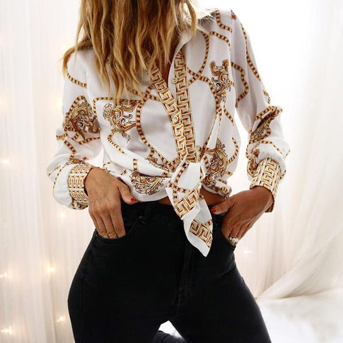 Fashion Versatile Chain Printed   Chiffon Shirt Top