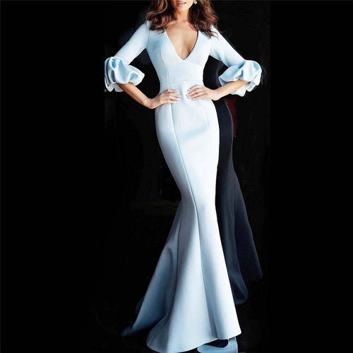 Sexy Deep V-Neck Puff Sleeve Slim Fishtail Evening Dress