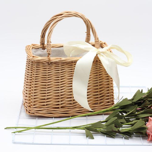 Retro Style Open Pocket Creative Bamboo Weaving Handbag