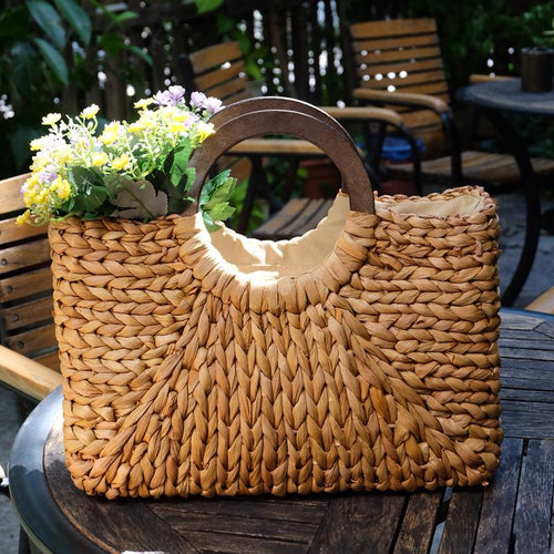 Wooden Handle Square Straw Woven Bag Retro Fashion Handbag