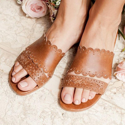 Vintage Greek Style Flat Bottom Sandals And Slippers
