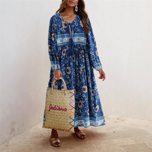 Vacation Loose Fringe Strap   Positioning Print Dress