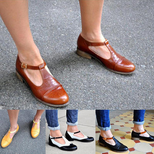 Retro Comfortable Thick Heel Casual Flats
