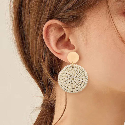 Round Rattan Pendant Wooden Handmade Earrings