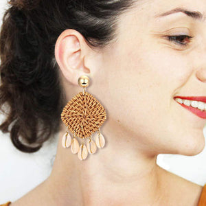 Rattan Weave Square Rattan Wicker Earrings
