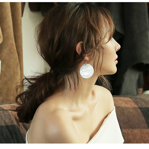 Shell Round Long Earrings Exaggerated Temperament Earrings Hipster Ear Ring
