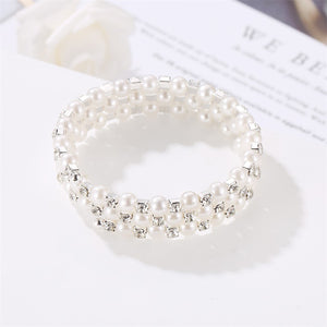 Sweet Full Diamond Spring Bracelet Three-Layer Pearl Winding Spiral Bracelet