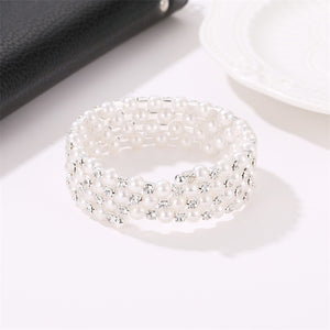 Sweet Full Diamond Spring Bracelet Four Layer Pearl Winding Spiral Bracelet