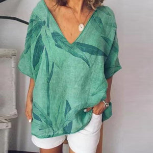 Summer Loose V-Neck Feather Print Short-Sleeved T-Shirt