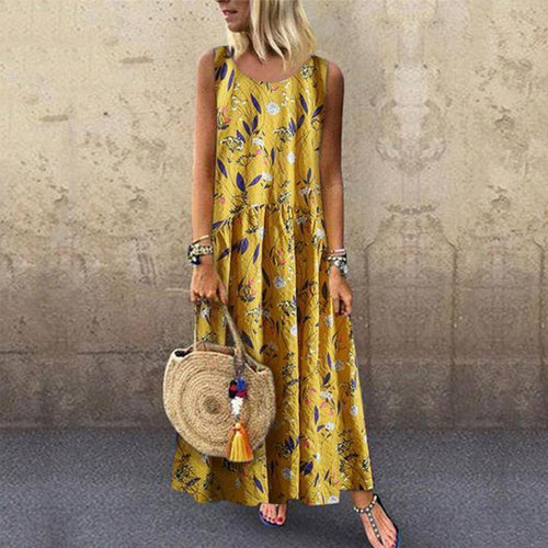 Fashion Floral Stitching Round Neck Sleeveless Loose Dresses