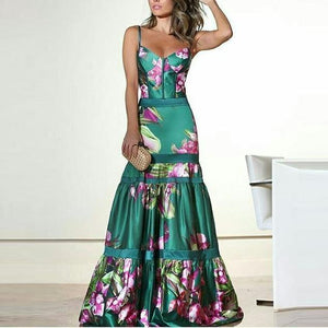 Fashion Sexy Floral Plunge Ruffles Layered Hem Evening Dress Fishtail Dress
