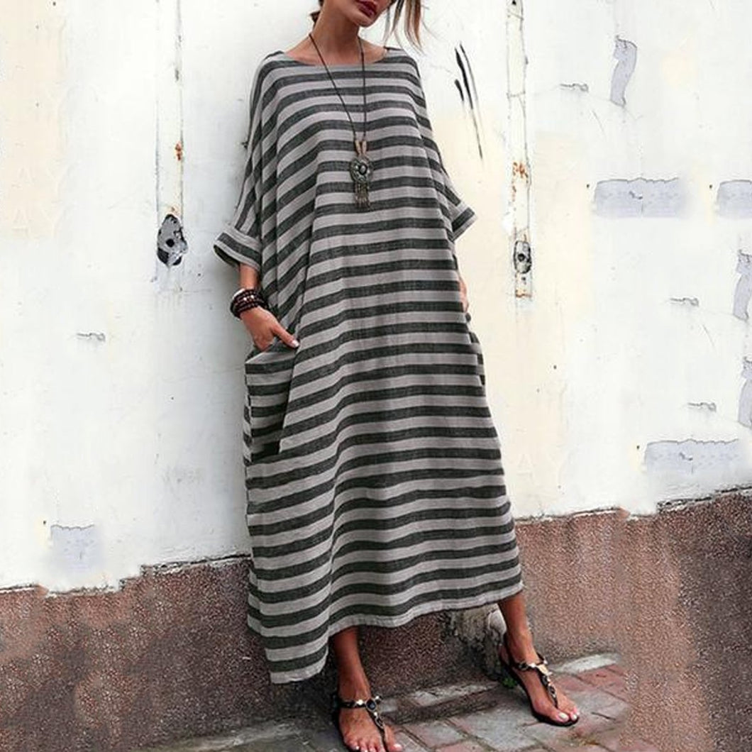 Oversized Striped Round Neck Pocket Maxi Dress