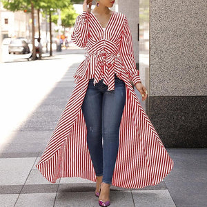 Fashion V Neck Frenulum Show Thin Strips Shirt Dress