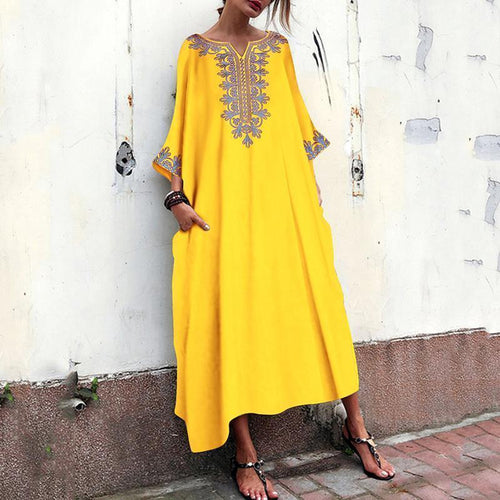 Fashion Bohemian Printed V Neck Causal Bell Sleeve Maxi Dresses