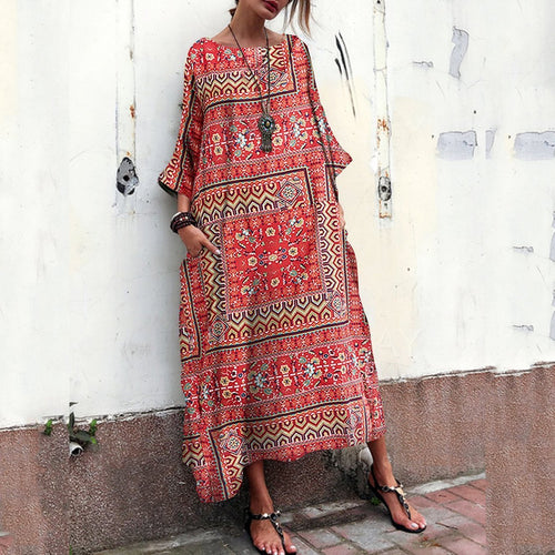 Loose Maxi Dresses With Floral Printed