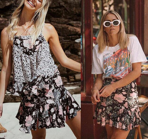 Summer Floral Printed Pleater Skirt