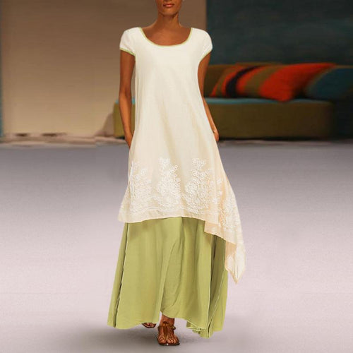 Round Neck Embroidery Large Swing Irregular Dress Fake Two Long Skirt