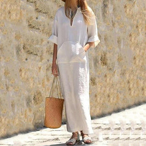 Casual Loose V-Neck Mid-Sleeve Shift Dress
