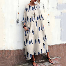 Load image into Gallery viewer, Bohemian Striped Bell Sleeve Floral Print Maxi Dresses