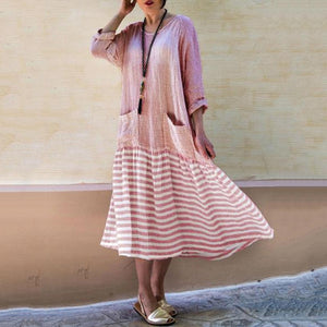 Women Striped Boho Long Sleeve Vintage Maxi Dresses