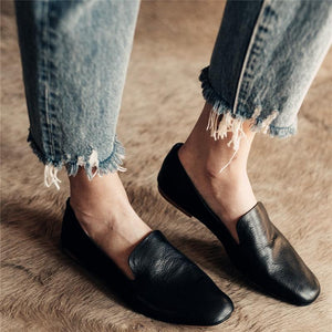 Solid Split Leather Casual Flat Shallow Mouth Shoes