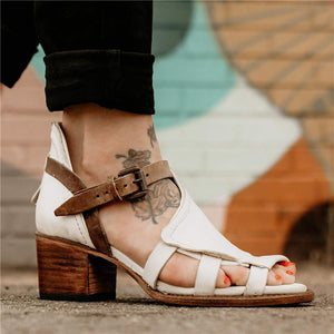 a49e9665db9 Roman Style Chunky Heel Sandals Vintage Style Chunky Heel Sandals