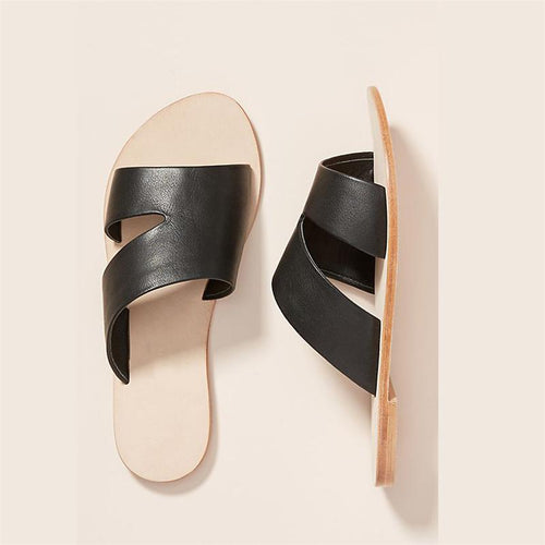 Greek Style Strip Open-Toe Flat Sandals And Slippers