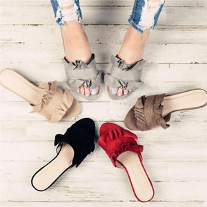 Fashion Women's Suede Middle Heel Slippers