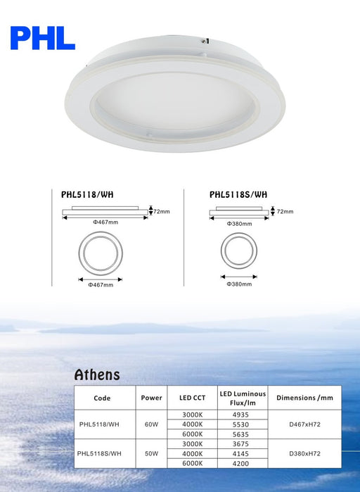PHL Athens Round Modern Luxury LED Ceiling Light
