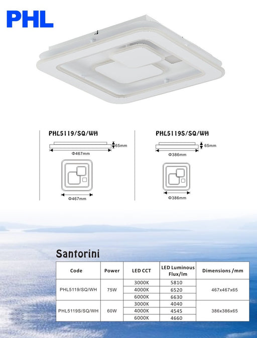 PHL Santorini Square Modern Luxury LED Ceiling Light
