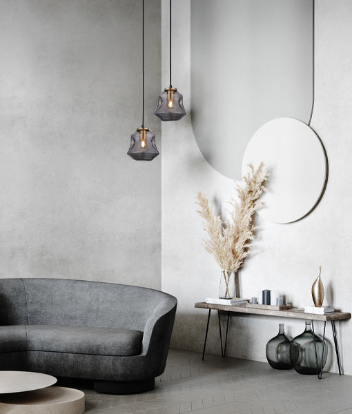CLA FOSSETTE Interior Dimpled Smoked Mirror Effect Glass Pendant