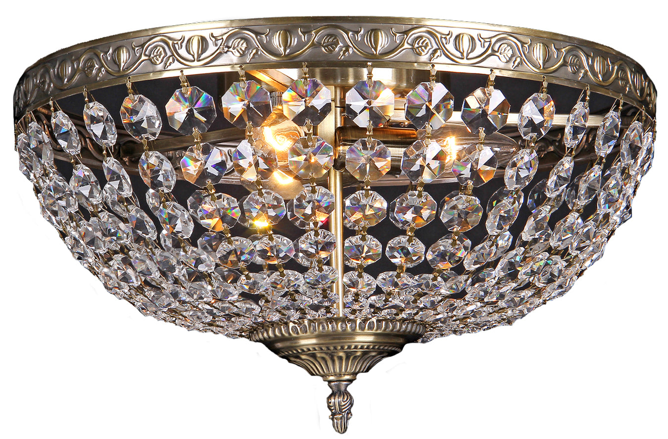Lighting Inspiration Le Pavillon Flush 40Cm Large 3Lt Antique Brass