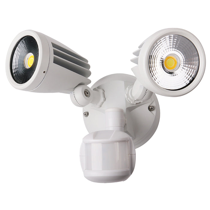 Martec Fortress II 30W Tricolour LED Double Exterior Security Light With PIR Sensor