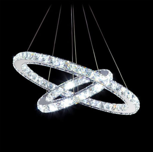 Modern 2 Oval Rings  LED Crystal  Pendant