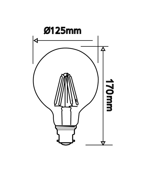 CLA LED G125 Filament Dimmable Globes